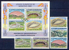 Olympiade 1980, Olympic Games - Sao Tome - 632-636, Bl.43 ** MNH