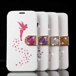 Sparkle-Diamond-Angel-Magnetic-Wallet-Case-Leather-Flip-Cover-For-Samsung-iPhone