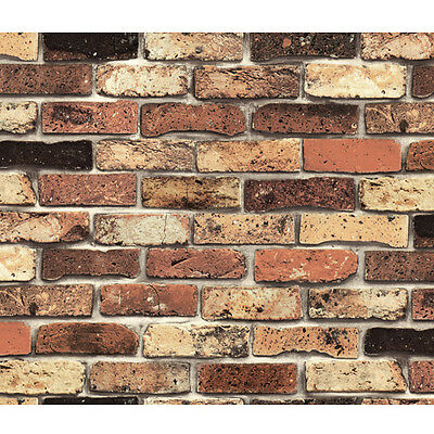 Vintage Shabby Chic Brick Self Adhesive Wallpaper Vinyl Peel Stick Wallcovering