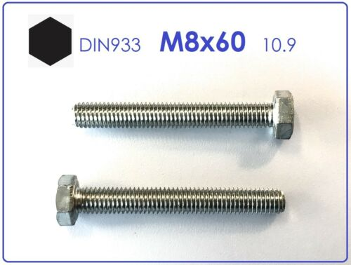 5 Stück Schraube DIN 933 M8x60 10.9 verzinkt