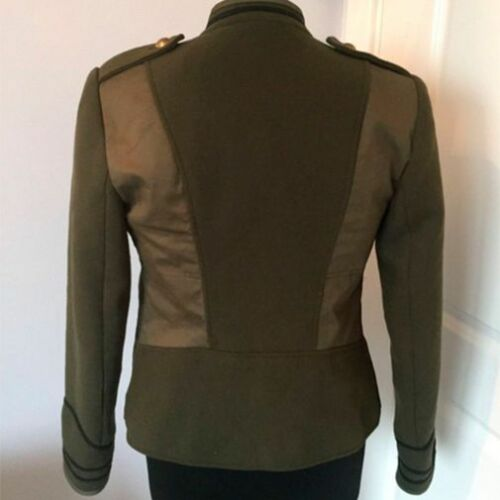 Size Military Bloggers Buttons Zara Green Coat Gold S TY78Cq