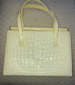 Vintage-ETRA-Leather-Kelly-Frame-Bag-With-Croc-Gator-Faux-Pattern-Accent-Yellow