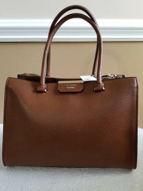 hot-skutečný prodej převládající omezené množství Guess Ryann Society Carryall Cognac Satchel Shoulder Bag NWT