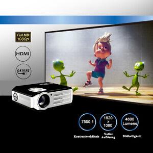 4800-Lumens-FULL-HD-1080P-Native-Heimkino-LED-Beamer-HDMI-HD-TV-Video-Projektor