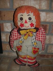 Vintage-15-034-Raggedy-Ann-Figural-Pillow-Cut-amp-Sew-Craft-Doll-70s-Stuffed-Cute