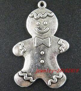 Gingerbread Man Charm  Pendant Tibetan Silver Necklace Novelty Christmas Gift