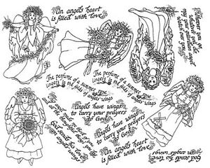 Image Is Loading Unmounted Rubber Stamp Sheets Floral Angels Angel Stamps