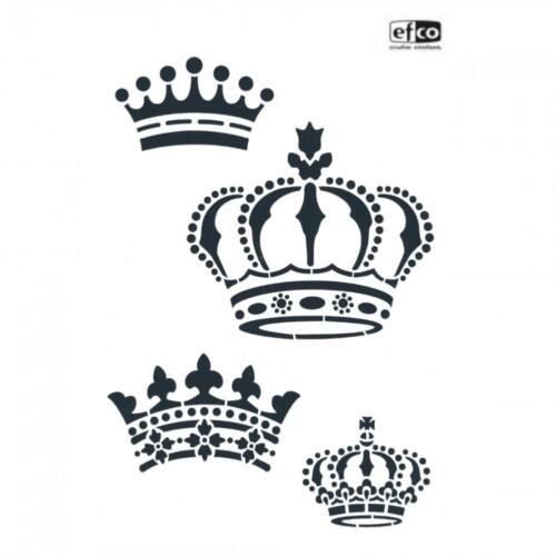 1 Schablone KRONE KREUZ SCHLÜSSEL DIN A4 Stencils für Wand Textil Vintage EFCO