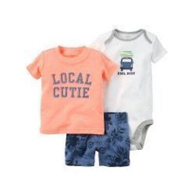 NWT Carter/'s 3 Months 3 PC Set Island Cutie Woven Top Bodysuit Shorts Olive