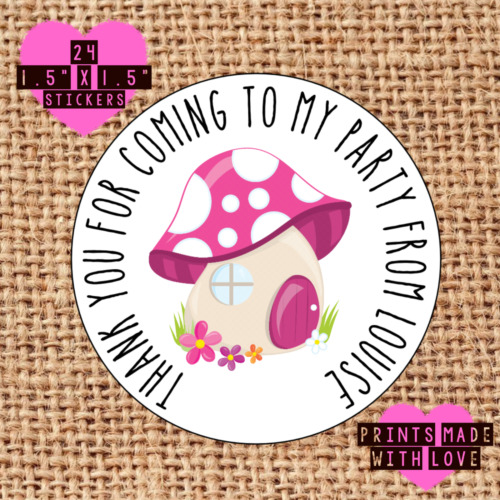 Personalised 24 pink toadstool house fairy party bag stickers sweet cone labels