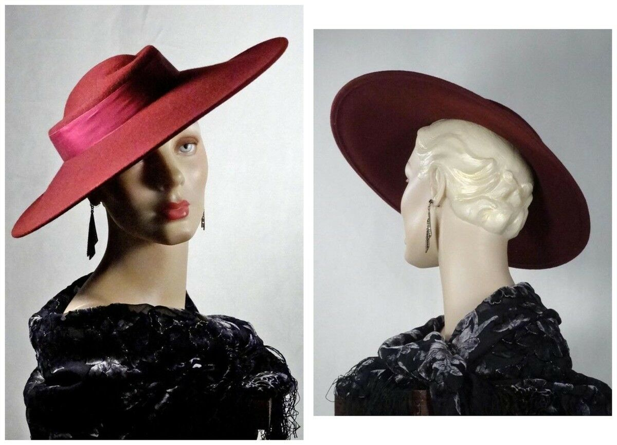 1930s 1940s Style Platter Hat Burgundy Wool Wide … - image 1