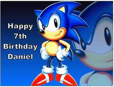 Sonic The Hedgehog Personalised Cake Topper Edible Wafer Paper 7 5