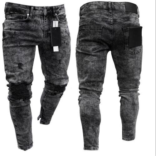 Mens Denim Skinny Ripped Jeans Pants Casual Slim Fit Zipper Biker Jogger Trouser