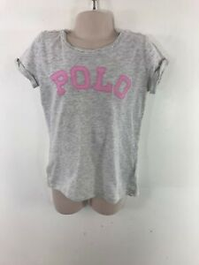 GIRLS-RALPH-LAUREN-GREY-PINK-CASUAL-CREW-NECK-T-SHIRT-TOP-SIZE-6-YEARS-OLD
