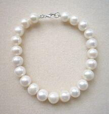 "Genuine Cream Freshwater Pearl Bracelet - Silver Clasp - 8"""