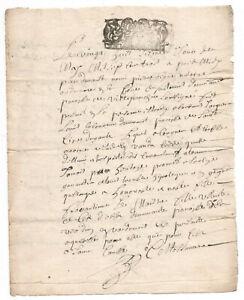 1703  KING LOUIS XIV Royal  Notary signed manuscript document ORIGINAL stamp