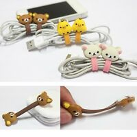 2Pcs Cute Cartoon Earphone Headphone Wrap Cord Cable Holder Winder Organizer Z1H