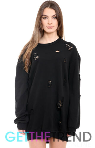 Womens Distressed Long Oversized Sweatshirt Dress Ladies Ripped Baggy Jumper Top