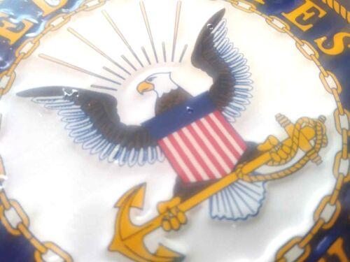 U.S Navy Veteran Yellow on Blue Embossed License Plate