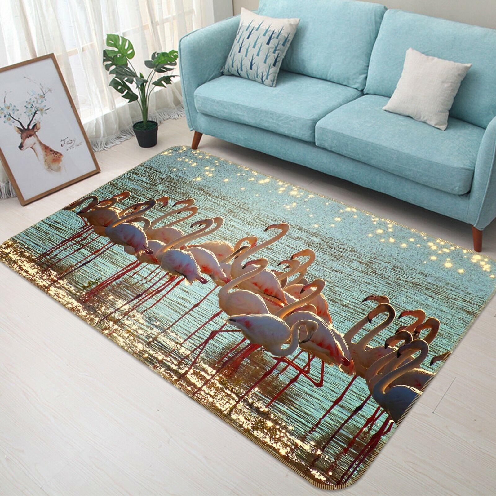 3D Fenicotteri Lake C055 Animale tappetino antiscivolo tappeto rossoondo elegante Tappeto Wendy