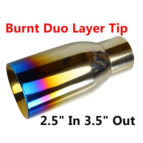 """2.5/"""" In 3.5/"""" Out Blue Burnt Exhaust Duo Layer Tip Polished Stainless Steel"""
