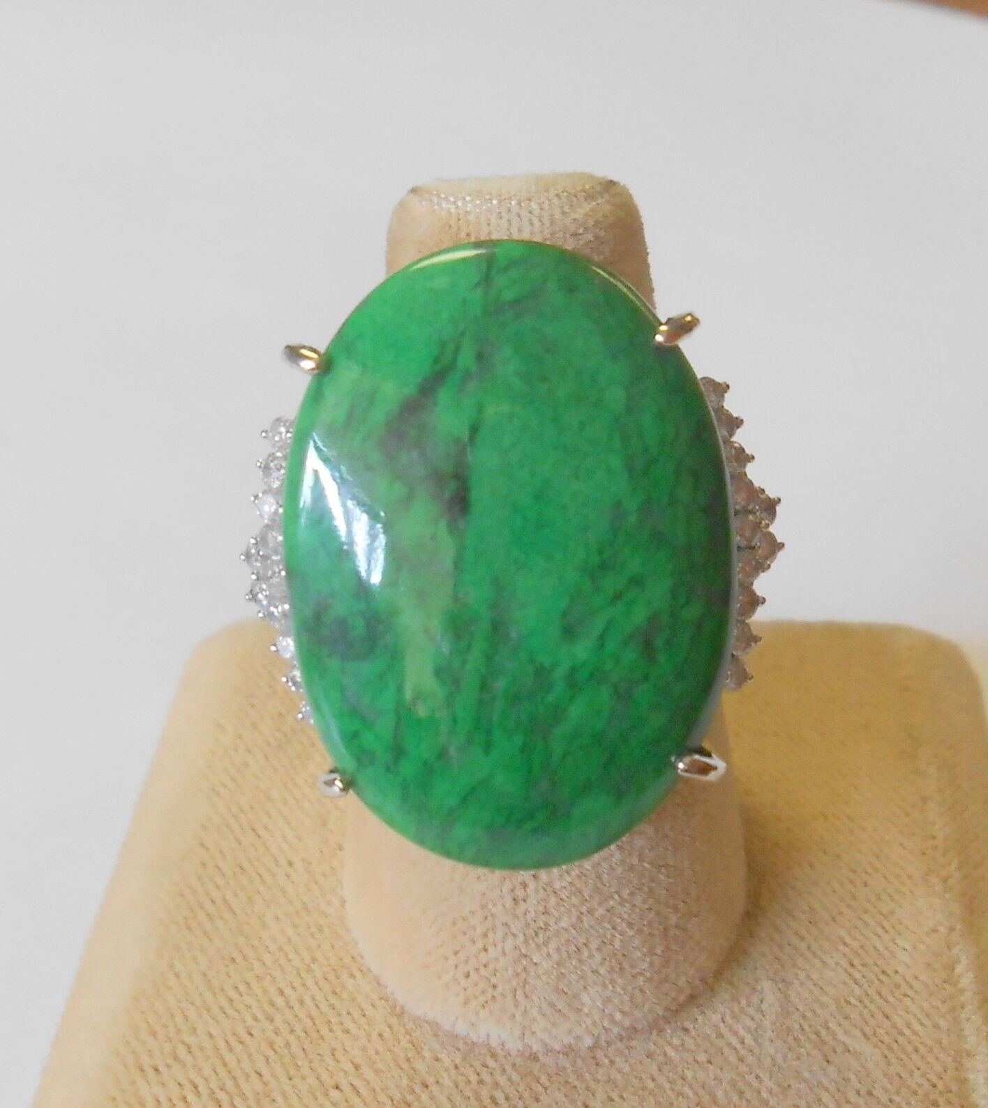 Exceptional 14K White gold Filigree 22 Diamonds Green Apple Sitt Jade Ring 6.75