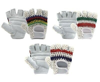 Half Finger Bus Driving Gloves Weight lifting Padded Leather Crochet Back