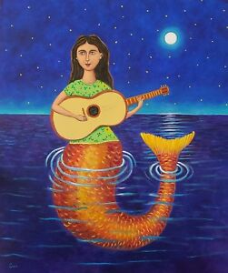 Beautiful-mermaid-with-guitar-painting-by-mexican-artist-Esau-Andrade-20-x-24