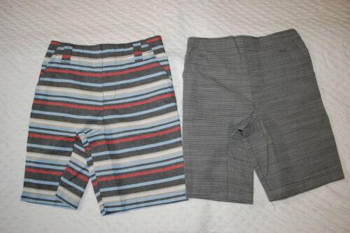 Boys Shorts 2 PR LOT Woven BLACK MICRO-STRIPE Blue Red Beige White Sz 5 6 7 8 10