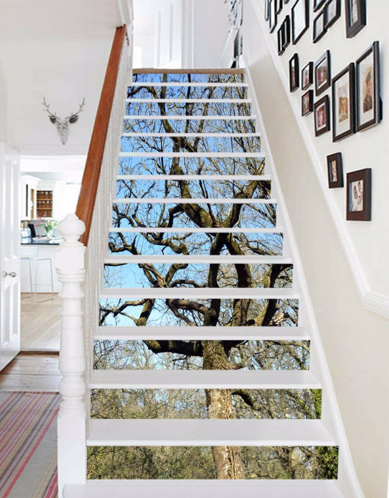 3D Sky tree Stair Risers Decoration Photo Mural Vinyl Decal Wallpaper AU