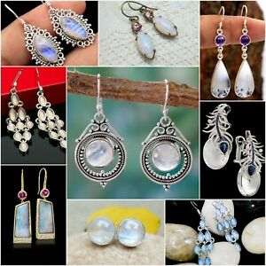 Women-925-Silver-Plated-Earrings-White-Opal-Moonstone-Hook-Dangle-Wedding-Party