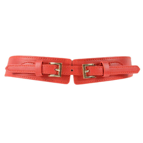 Ladies Women Double Buckle Faux Leather Belt Stretch Adjustable Dress Waistband