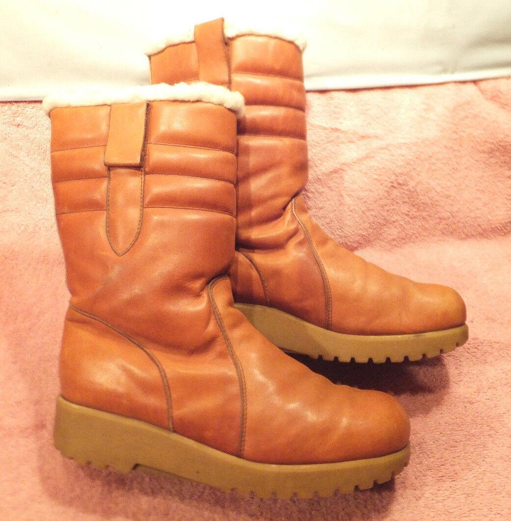 Vtg Dexter scarpemakers  USA MADE BritishTan Leather Faux Shearrling Lined stivali 9M  risparmia il 35% - 70% di sconto