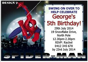 Details About 20 X Spiderman Boys Birthday Personalised Invitations Cards Free Magnets