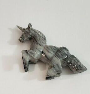 "Vintage Onyx Unicorn Figurine Hand Carved 9"" Black White"