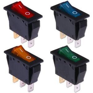 Wippschalter-Ein-Aus-12V-DC-amp-230V-AC-Beleuchtet-Rot-Blau-Grun-Gelb-Kippschalter