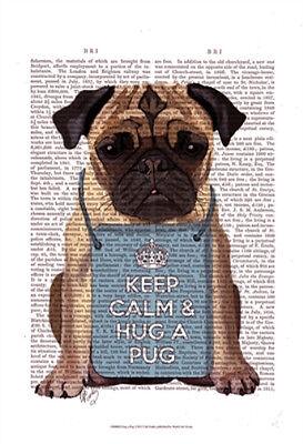 Print 13x19 Hug A Pug by Fab Funky Dog