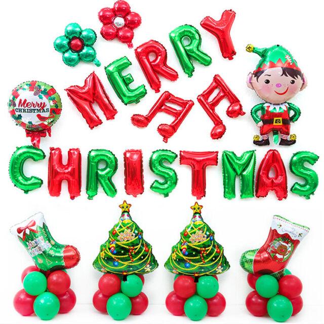 DIY Merry Christmas Balloons Kit Xmas Santa Claus Balloon Sets Home Party Decor