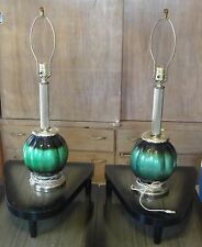 VINTAGE MID CENTURY MODERN GREEN GLOBE TABLE LAMPS. AMBER GLASS FINIALS