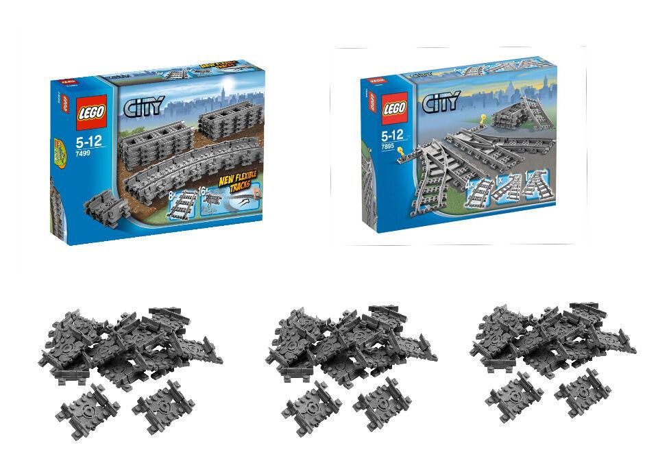 Lego City Chemin de de de Fer Set 7499/7895 Plus Très 48 X Flex Rails 7897/7938/7939   Grandes Variétés  cf561c