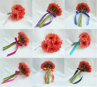 Artificial Silk Coral Daisies Wedding Flower Decoration Girl Bouquet Bridesmaid