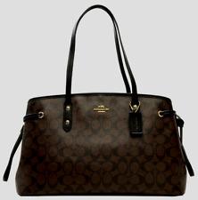 NEW COACH F57842 DRAWSTRING SIGNATURE CARRYALL SHOULDER BAG BLACK & BROWN $350