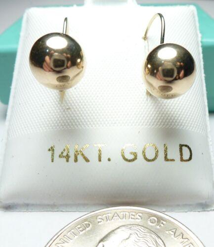 14kt Blanc Pur Or 8 mm BALL Leverback Boucles d/'oreilles avec boîte cadeau estampillé /& Garantie