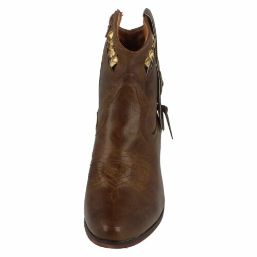 DOWN TO EARTH F5R0944 SMART COWBOY STYLE LADIES ANKLE BOOTS WARM WINTER ZIP UP