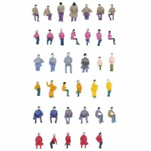 Original 25/200 Seated Painted Joblot Model Railway Sitting People Figures Oo Gauge 20mm En Voyageant