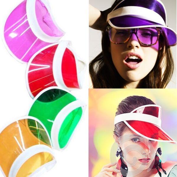 100% Verdadero Retro Visera Gorra Para El Sol Apertura De Transparente Póker Plástico Finamente Procesado