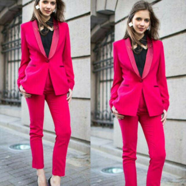 hot pink women ladies trouser suits jacket pant shawl lapel prom party work wear ebay usd