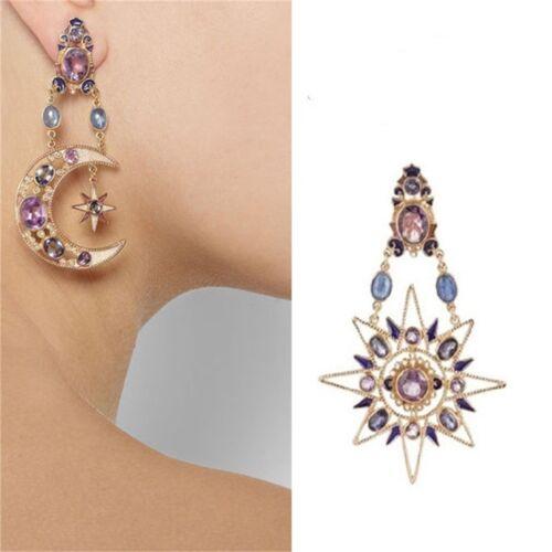 Déclaration Stars Gem Sun Moon Boucles d/'oreilles pour femmes Fashion Jewelry Dangle Earrings