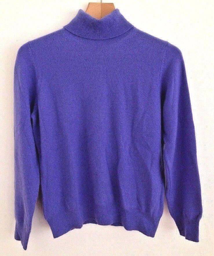 M&S Autograph PURE 100% CASHMERE bluee purple JUMPER Secretary Career prim