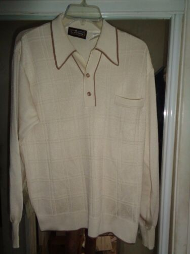 NOS L VIRANY 50's-60's Cream & Taupe Long Sleeves